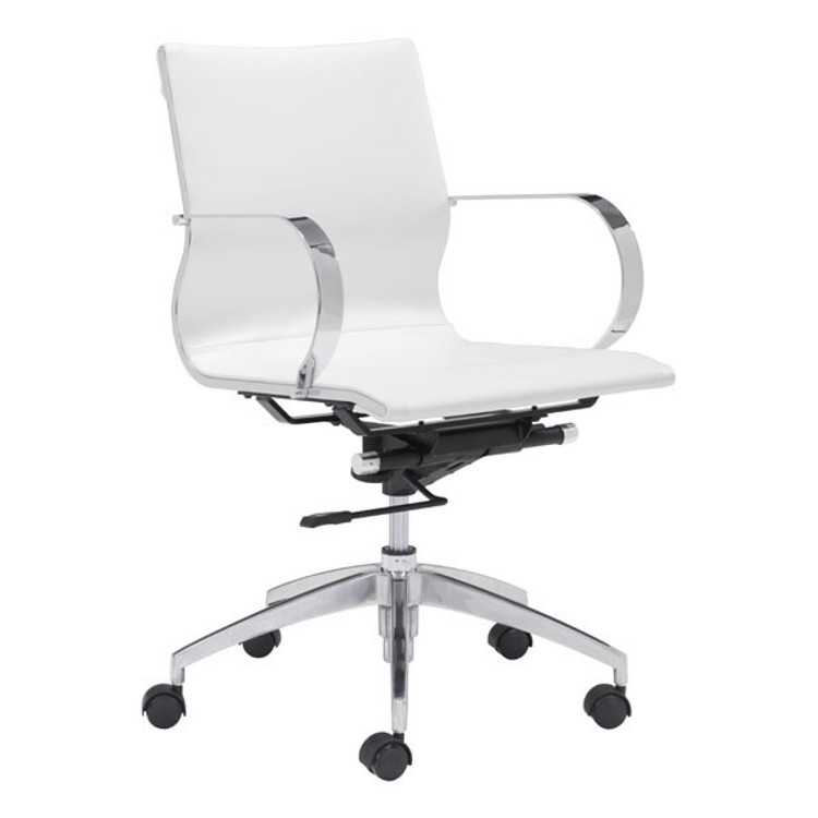 Zuo Modern Glider Low Back Office Chair White