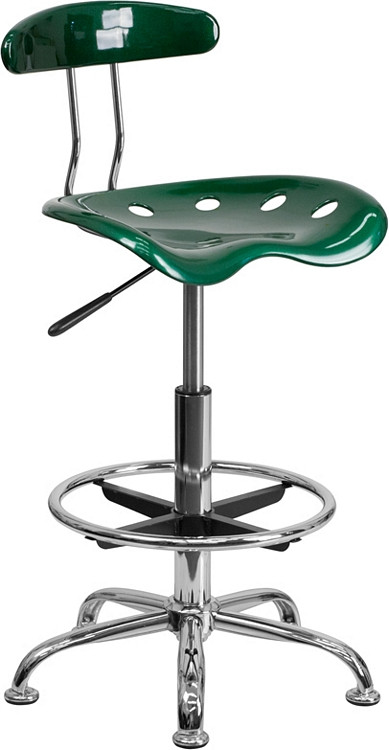 Flash Furniture Vibrant Green and Chrome Drafting Stool with Tractor Seat