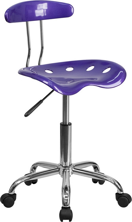 Flash Furniture Vibrant Violet and Chrome Swivel Task Chair with Tractor Seat