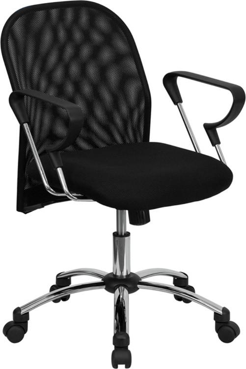 flash furniture mid back black mesh swivel task chair with chrome