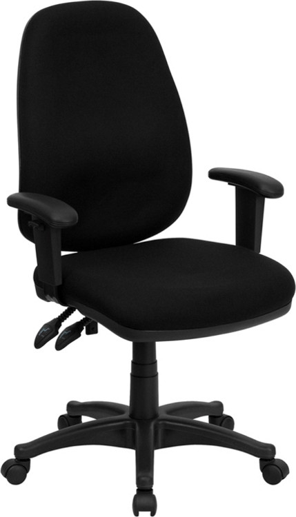 Flash Furniture High Back Black Fabric Executive Swivel Chair with Adjustable Arms