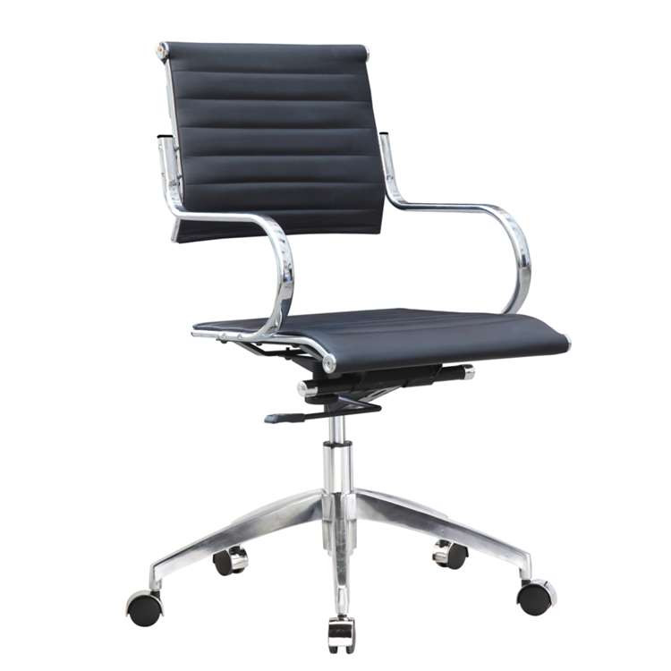 Fine Mod Flees Office Chair Mid Back, Black
