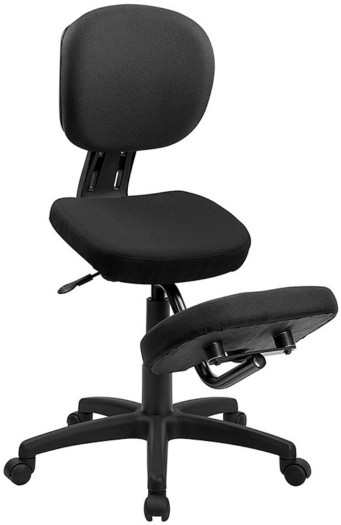 Flash Furniture Mobile Ergonomic Kneeling Posture Task Chair with Back in Black Fabric