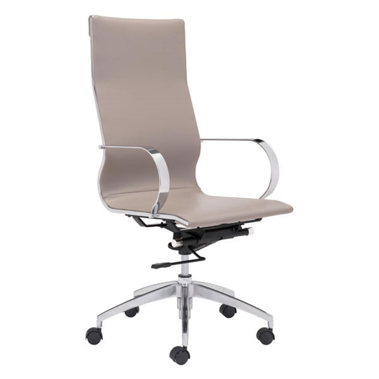 Zuo Modern Glider Hi Back Office Chair Taupe