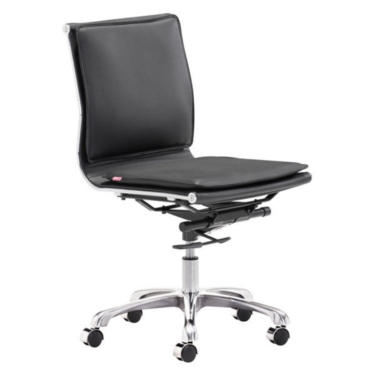 Zuo Modern Lider Plus Armless Office Chair Black