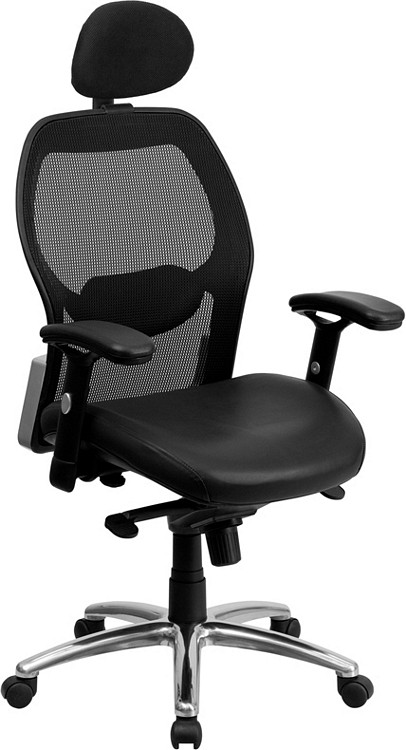 Flash Furniture High Back Black Super Mesh Executive Swivel Chair with Leather Seat, Knee Tilt Control and Adjustable Arms