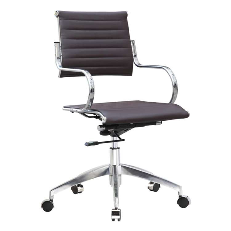 Fine Mod Flees Office Chair Mid Back, Dark Brown