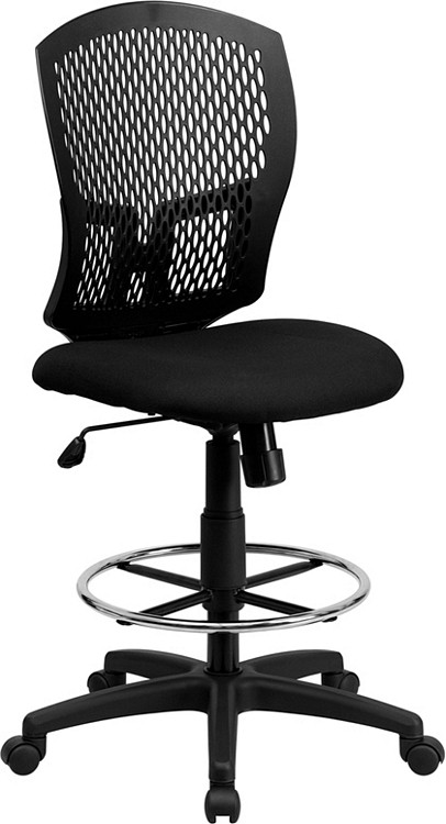 Flash Furniture Mid-Back Designer Back Drafting Chair with Fabric Seat