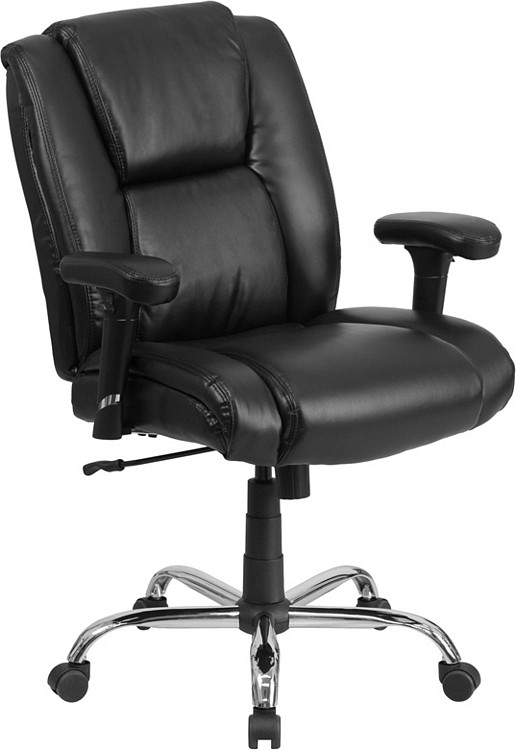 Flash Furniture HERCULES Series Big & Tall 400 lb. Rated Black Leather Swivel Task Chair with Adjustable Arms 2