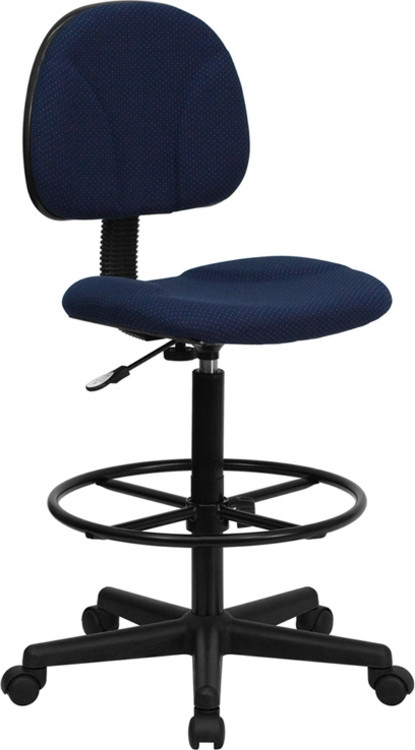 Flash Furniture Navy Blue Patterned Fabric Drafting Chair