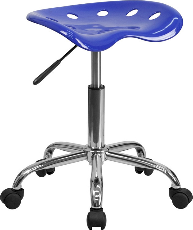 Flash Furniture Vibrant Nautical Blue Tractor Seat and Chrome Stool
