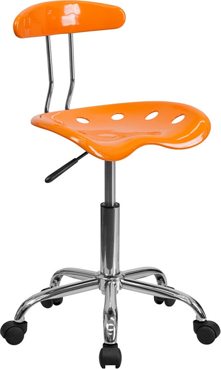Flash Furniture Vibrant Orange and Chrome Swivel Task Chair with Tractor Seat