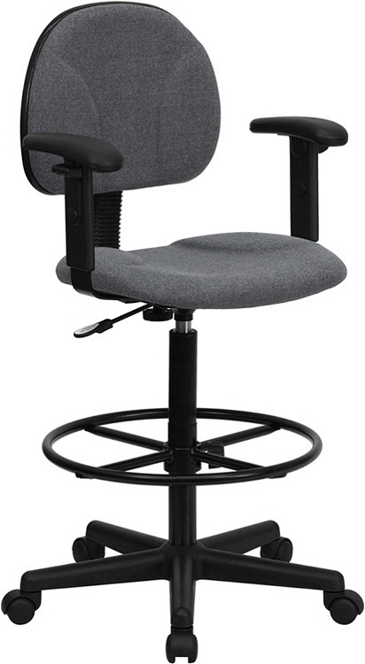 Flash Furniture Gray Fabric Drafting Chair with Adjustable Arms