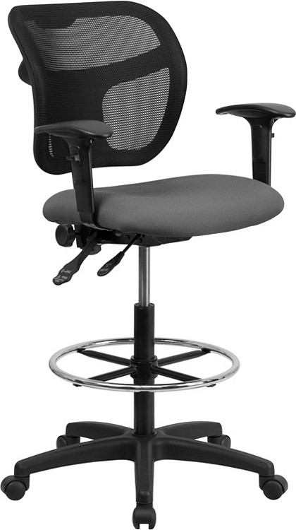 Flash Furniture Mid-Back Gray Mesh Drafting Chair with Adjustable Arms 1