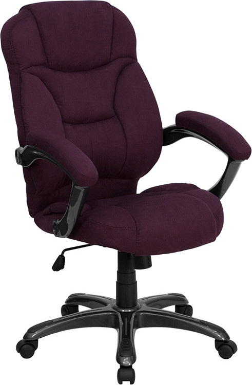Flash Furniture High Back Grape Microfiber Contemporary Executive Swivel Chair with Arms