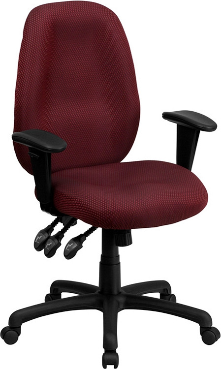 Flash Furniture High Back Burgundy Fabric Multifunction Ergonomic Executive Swivel Chair with Adjustable Arms