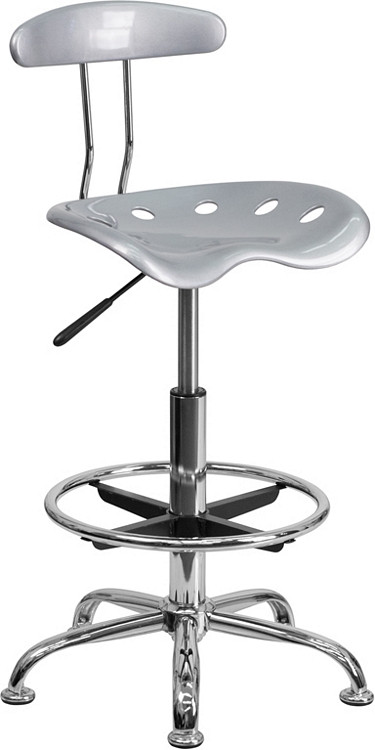 Flash Furniture Vibrant Silver and Chrome Drafting Stool with Tractor Seat