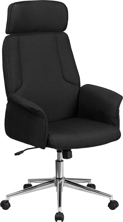 Flash Furniture High Back Black Fabric Executive Swivel Chair with Chrome Base and Fully Upholstered Arms