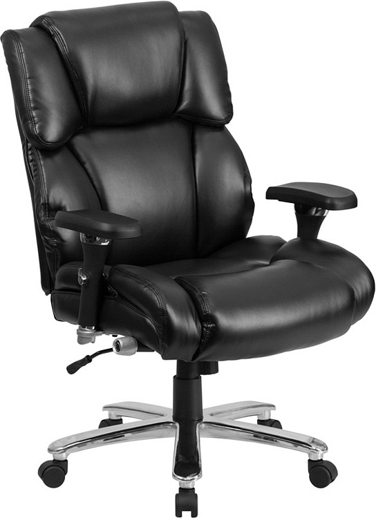 Flash Furniture HERCULES Series 24/7 Intensive Use Big & Tall 400 lb. Rated Black Leather Executive Swivel Chair with Lumbar Knob 1