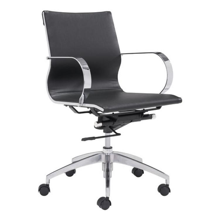 Zuo Modern Glider Low Back Office Chair Black