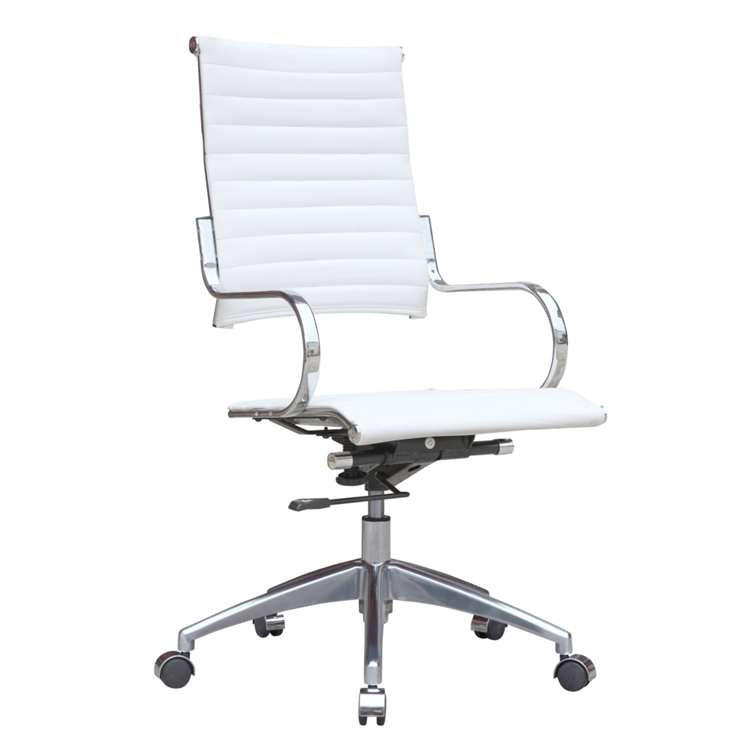 Fine Mod Flees Office Chair High Back, White