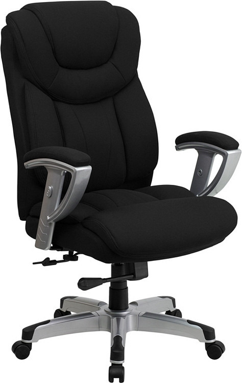 Flash Furniture HERCULES Series Big & Tall 400 lb. Rated Black Fabric Executive Swivel Chair with Adjustable Arms 1