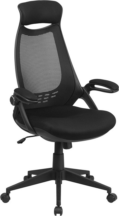 Flash Furniture High Back Black Mesh Executive Swivel Chair with Flip-Up Arms