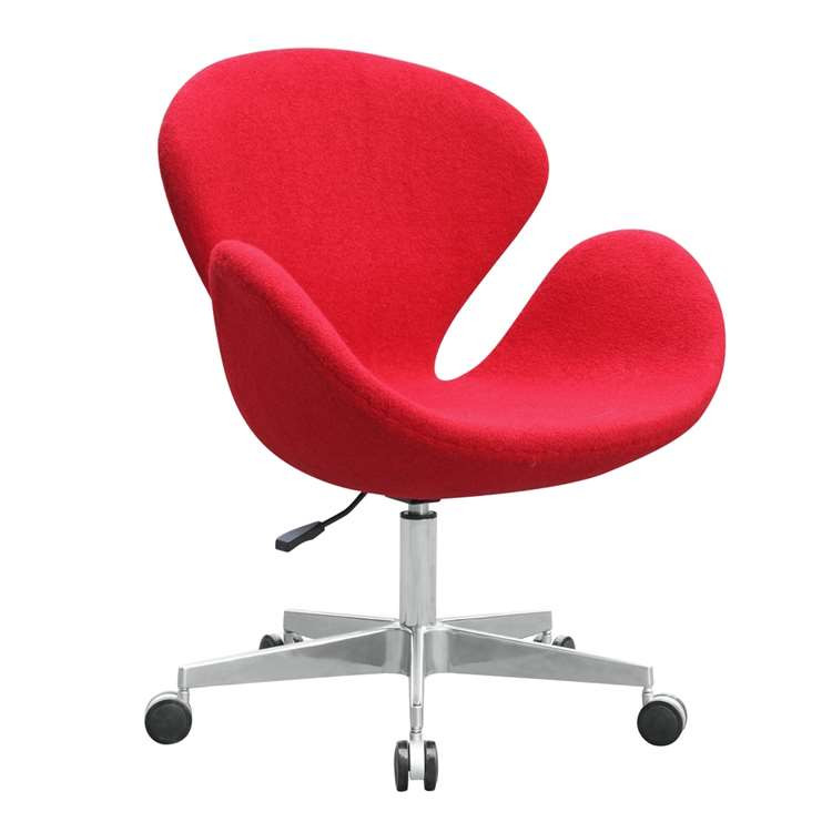 Fine Mod Swan Chair Fabric with Casters, Red