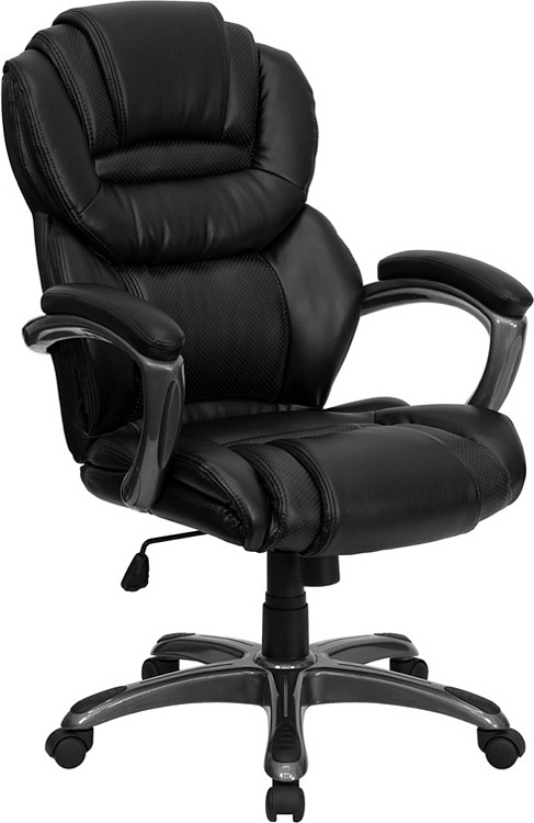 Flash Furniture High Back Black Leather Executive Swivel Chair with Arms 17