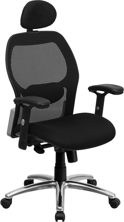 Flash Furniture High Back Black Super Mesh Executive Swivel Chair with Knee Tilt Control and Adjustable Arms