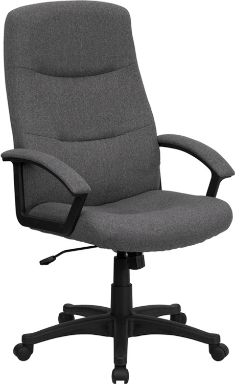 Flash Furniture High Back Gray Fabric Executive Swivel Chair with Arms