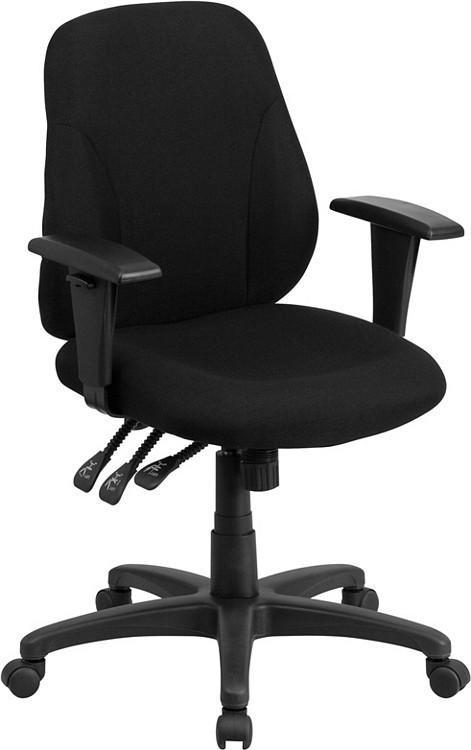 Flash Furniture Mid-Back Black Fabric Multifunction Ergonomic Swivel Task Chair with Adjustable Arms 1