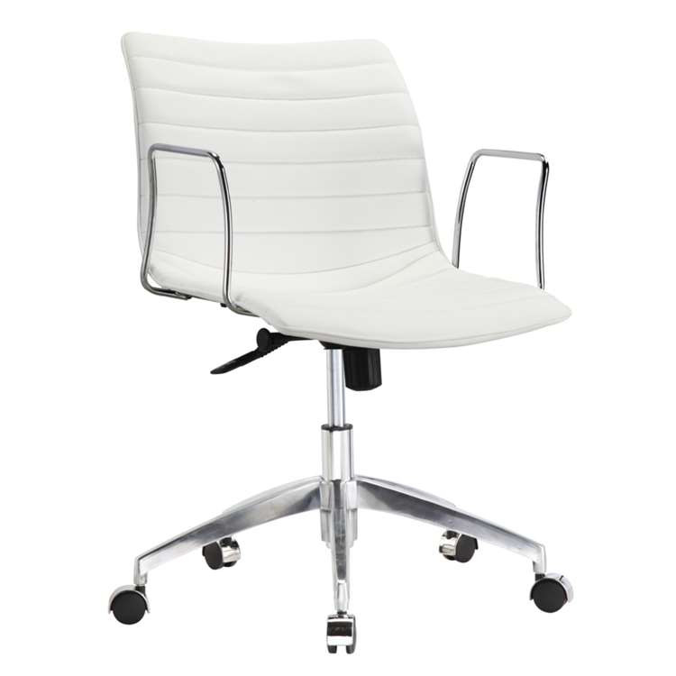 Fine Mod Comfy Office Chair Mid Back, White