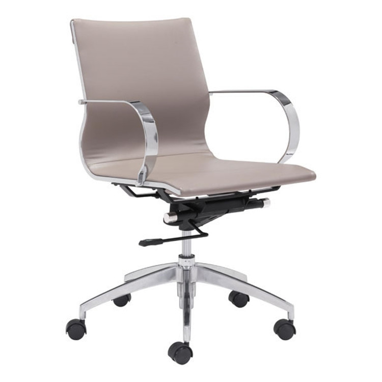 Zuo Modern Glider Low Back Office Chair Taupe
