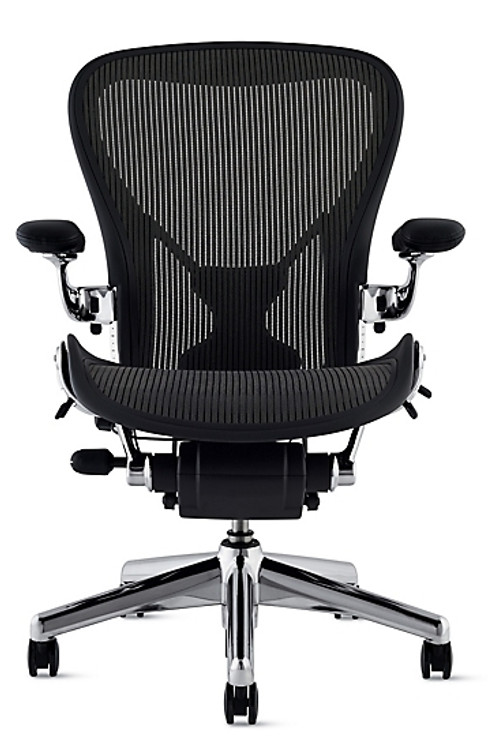 Herman Miller Aeron Chair Size B Black With Posturefit Polished Base