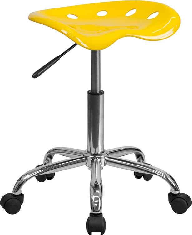 Flash Furniture Vibrant Orange-Yellow Tractor Seat and Chrome Stool