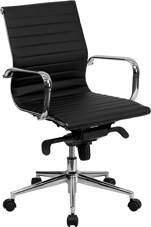 Flash Furniture Mid-Back Black Ribbed Leather Swivel Conference Chair with Knee-Tilt Control and Arms