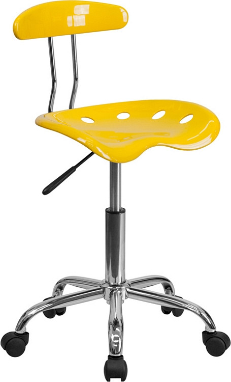 Flash Furniture Vibrant Orange-Yellow and Chrome Swivel Task Chair with Tractor Seat