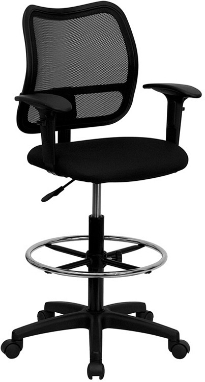 Flash Furniture Mid-Back Black Mesh Drafting Chair with Adjustable Arms