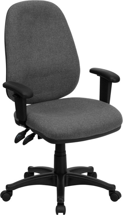 Flash Furniture High Back Gray Fabric Executive Swivel Chair with Adjustable Arms