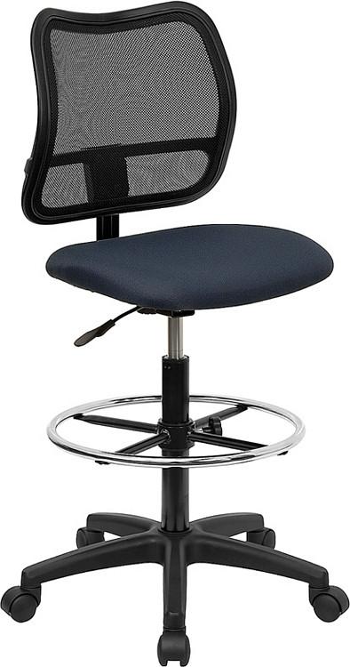 Flash Furniture Mid-Back Navy Blue Mesh Drafting Chair