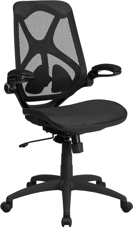 Flash Furniture High Back Transparent Black Mesh Executive Swivel Chair with Adjustable Lumbar, 2-Paddle Control and Flip-Up Arms