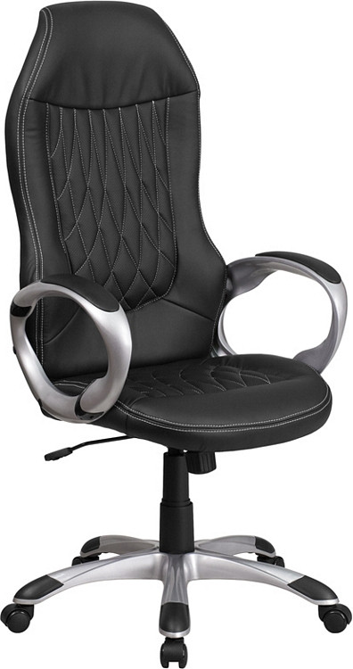 Flash Furniture High Back Black Vinyl Executive Swivel Chair with Arms