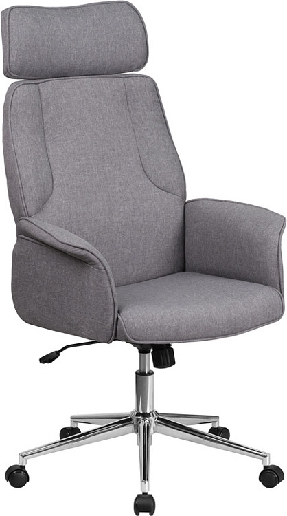 Flash Furniture High Back Gray Fabric Executive Swivel Chair with Chrome Base and Fully Upholstered Arms
