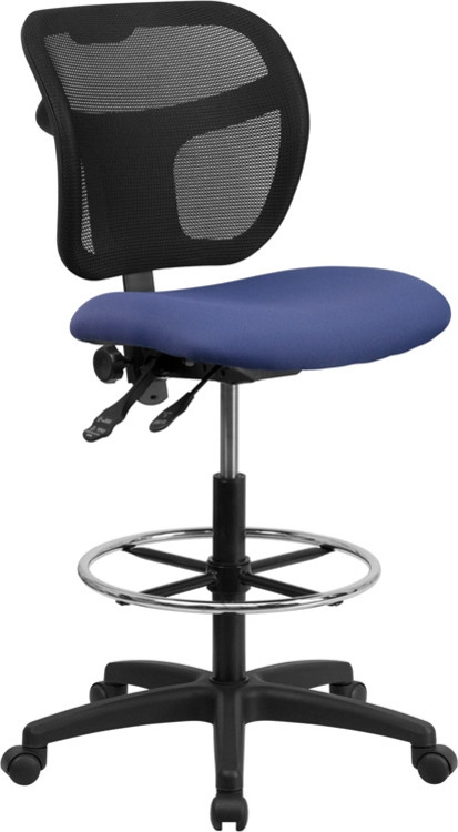 Flash Furniture Mid-Back Navy Blue Mesh Drafting Chair 1