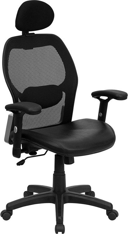 Flash Furniture High Back Black Super Mesh Executive Swivel Chair with Leather Seat and Adjustable Arms