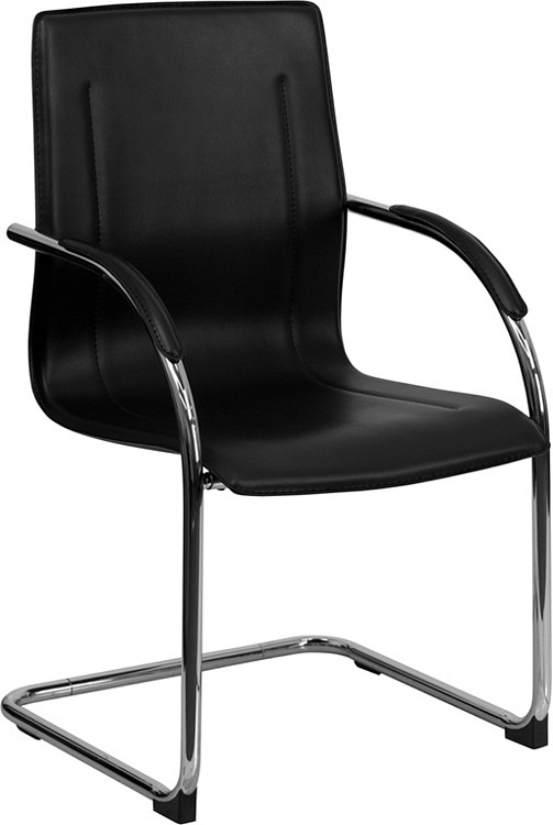 Flash Furniture Black Vinyl Side Reception Chair with Chrome Sled Base
