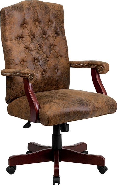Flash Furniture Bomber Brown Classic Executive Swivel Chair with Arms