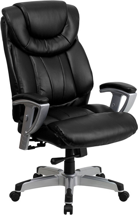Flash Furniture HERCULES Series Big & Tall 400 lb. Rated Black Leather Executive Swivel Chair with Adjustable Arms 1
