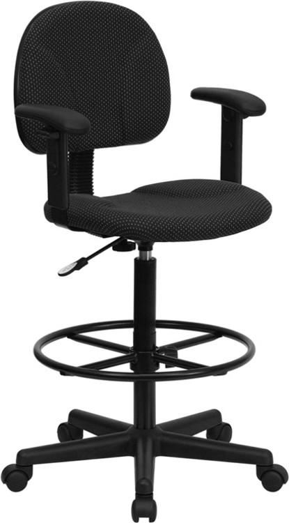 Flash Furniture Black Patterned Fabric Drafting Chair with Adjustable Arms